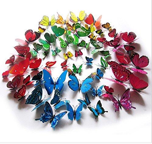T-Mida Home Simulazione 3D per abbellire la decorazione wall sticker Butterfly Fridge Magnet set di 12 Salone sposa Gala verde PVC adesivi