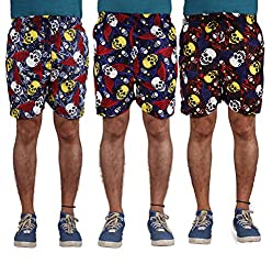 American-Elm Men's Multi Color Printed Shorts-Combo Of 3 (Small)