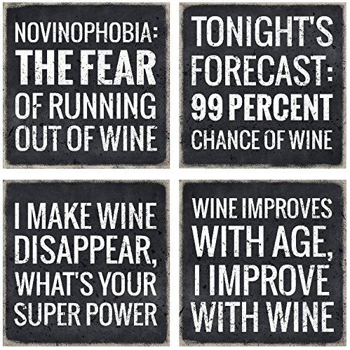 4 Wine Coasters - Best Wine Gifts Accessory for Any Wine Enthusiast, Keep Your Table Stain Free and Add a Personalized Touch With Funny Wine Glass Coaster Art Glass Desk Accessories
