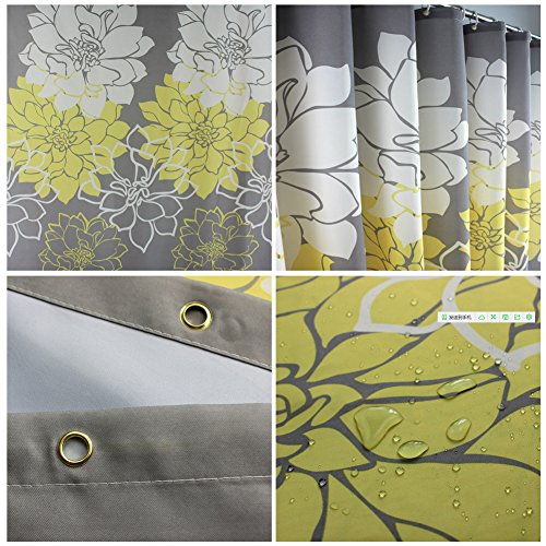 S Zone Long Designer Yellow And Gray Shower Curtains With 12 Hooks Ebay