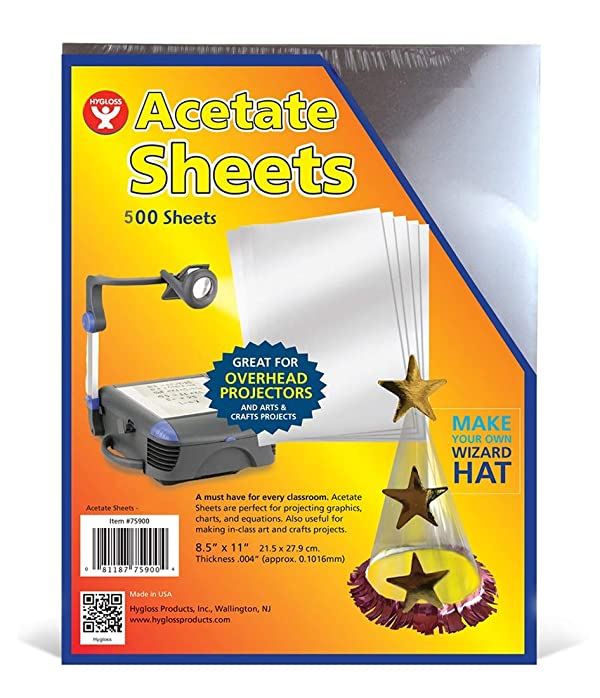 Hygloss Products Hygloss 75905 Products Transparency Film Acetate Overhead Projectors, Arts & Craft Projects, 500 Sheets Bulk Pack, Clear (Color: Clear)