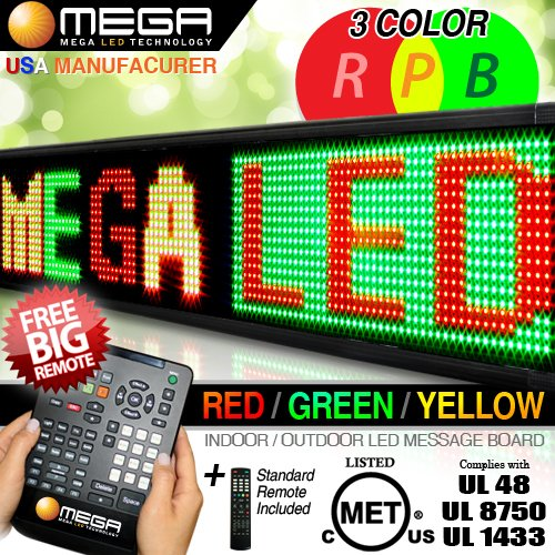 "Led Signs 40"" X 15"" Tri-Color Bright Digital Programmable Scrolling Message Display / Business Tools"