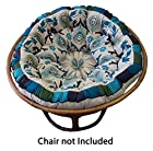 Cotton Craft - Papasan - Peacock Blue - Overstuffed Chair Cushion - Really Thick and Oversized - Pure 100% Cotton duck fabric - Fits Standard 45 inch round Papasan Chair - Chair not included