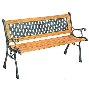 LD Banco de jardín muebles de jardín parque banco asiento Banco de madera de eucalipto Hierro Fundido Madera dura