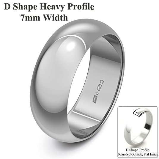 Xzara Jewellery - Palladium 500 7mm Heavy D Shape Hallmarked Ladies/Gents 6.2 Grams Wedding Ring Band