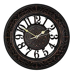 Foxtop 12 Inch Wall Clock European-style Vintage Retro Antique Royal Style Resin Wall Clock, Creative Home Living Room Boutique Antique Hotel Mute Wall Clock (Black)