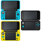 Protective Case for New Nintendo 2DS XL, AFUNTA Set of 3 Anti-slip Silicone Cover with Comfort Feeling - Black, Blue, Yellow