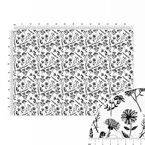 healing-flowers-nostalgia-cotton-twill-fabric-fat-quarter-70x50cm-brown-white-black