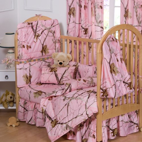 Pink Camo Crib front-679640