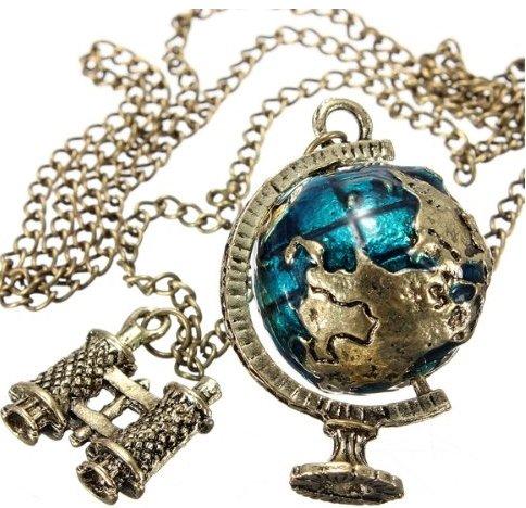 Collana con pendenti a forma Oceanmap un mondo sfera e un lungo vetro vintage-Stil color bronzo, Lega, cod. SKU026854