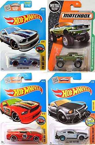 Ford Mustang Matchbox ´68 Mudstanger New Casting 2016 Hot wheels 2005 Ford Mustang + `07 Ford Mustang Red & Silver Variants Art Cars in PROTECTIVE CASES