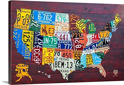 Premium Thick-Wrap Canvas Wall Art Print entitled License Plate Map USA Large