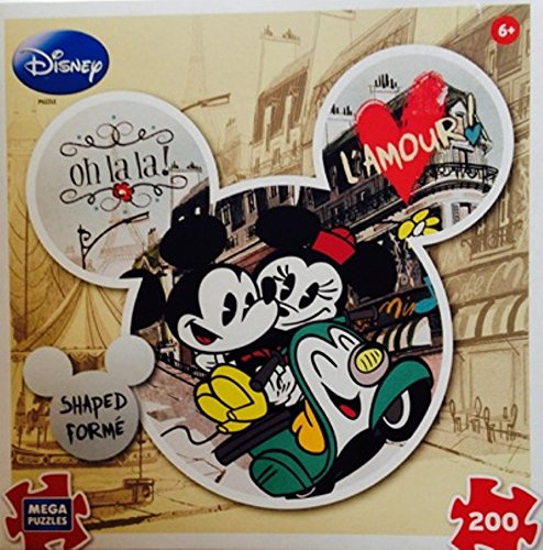 Disney Mickey & Minnie Mouse L'amour Shaped Puzzle ~ 200 pieces