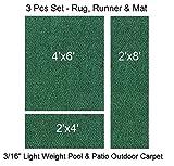 3 Piece Set - ECONOMY Patio & Pool - Light Weight Carpet Rug, Mat & Runner | EASY Maintenance - Just Hose Off & Dry! (Rug 4'x6', Runner 2'x8' & Mat 2'x4') (Killarney Green)