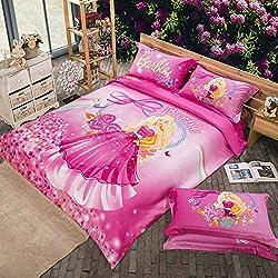 MakeTop Beautiful Barbie Pink Flower Kids Girls Bedding Set (Full, 4pc without comforter)