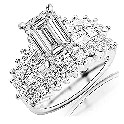 3.65 Carat t.w. GIA Certified Emerald Cut 14K White Gold Exquisite Prong Set Bageutte And Round Diamond Engagement Ring (D-E Color VVS1-VVS2 Clarity)