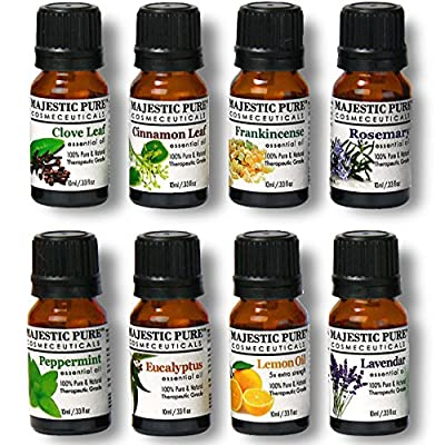 Aromatherapy Essential Oils Set of Top 8 from Majestic Pure, Therapeutic Grade Oil Gift Set - 10 ml - Lavender, Frankincense, Peppermint, Eucalyptus, Lemon, Clove Leaf, Cinnamon Leaf & Rosemary Oils