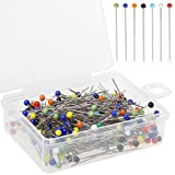 Color Scissor 250 Pieces Sewing Pins Ball Glass Head Pins Straight Quilting Pins For Dressmaker Jewelry Decoration (Color: 250 Pieces Sewing Pins)