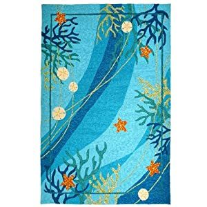 Homefires Underwater Coral and Starfish 22-Inch by 34-Inch Indoor Outdoor Hand Hooked Area Rug