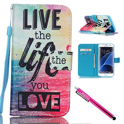 Galaxy S7 edge Case, Firefish Stand Flip Folio Wallet Cover Shock Resistance Protective Shell with Cards Slots Magnetic Closure for Samsung Galaxy S7 edge-Life (T Shirt Stand compare prices)