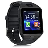 DZ09 Bluetooth Smart Watch Touch Screen with Camera, SIM Card TF/SD Card Slot, Pedometer Activity Tracker for iPhone Android Phones Samsung Huawei PK GT08 A1 (Black) (Color: Black)