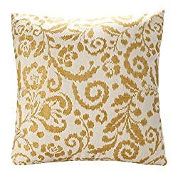SimpleDecor Jacquard Floral Pattern Throw Pillow Cushion Cover Sofa Pillow Covers 18X18 Inch Yellow