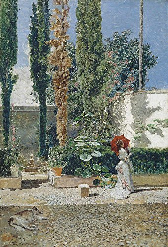 'Fortuny Marsal Mariano Madrazo Y Garreta Raimundo De Jardin De La Casa De Fortuny Ca. 1872 ' Oil Painting, 30 X 44 Inch / 76 X 112 Cm ,printed On High Quality Polyster Canvas ,this Replica Art DecorativeCanvas Prints Is Perfectly Suitalbe For Dining Room Decor And Home Decoration And Gifts
