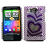 Samrick Heart Handmade Crystal Gemstone Rhinestone Bling Diamante Protective Case for HTC Desire HD - Purple