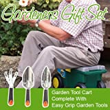 Gardeners Gift Set - Garden Tool Cart on Wheels complete with Easy Grip Garden Tools