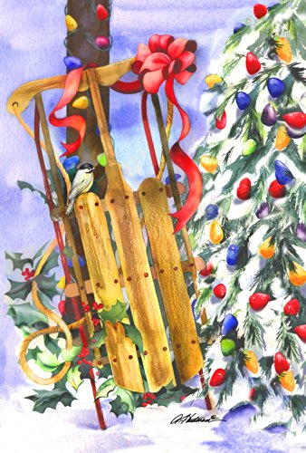 Toland Home Garden Snowy Sled 28 X 40 Inch Decorative Usa