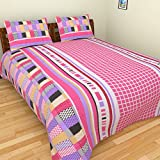 BeautifulHOMES 180 TC Cotton Double Bedsheet with Two Pillow Covers - Multi Color, CF030