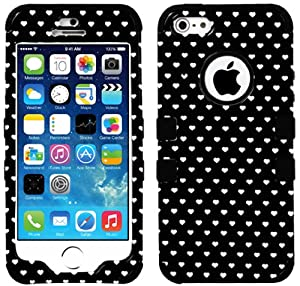myLife Black - White Heart Overload Series (Neo Hypergrip Flex Gel) 3 Piece Case for iPhone 5/5S (5G) 5th Generation iTouch Smartphone by Apple (External 2 Piece Fitted On Hard Rubberized Plates + Internal Soft Silicone Easy Grip Bumper Gel)