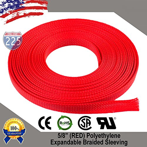 20 FT 5/8 16mm Red Expandable Wire Cable Braided Sleeving Sheathing Loom Tubing US [+Peso($44.00 c/100gr)] (US.ME.9.3-0-B071P9LJ83.43)