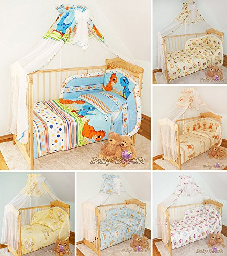 10-Piece-Nursery-Cot-Bed-Bedding-Duvet-Cover-Filling-Set-Safety-Bumper-Canopy-Rod