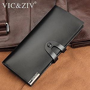 VIC&ZIV 長財布 本革 メンズ 二つ折り 表面の美しさに優れた革 強靭 薄い 耐摩擦 高耐久性 ファッション 使いやすい サイフ 圧倒的な収納力!