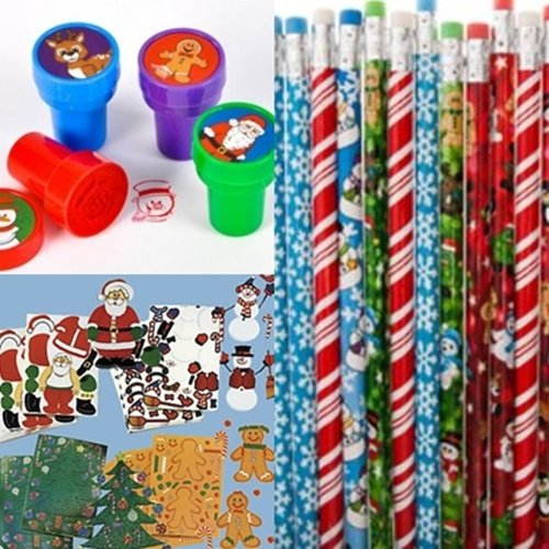 Christmas Stocking Stuffer Toy Assortment - Includes 12 Christmas Pencils, 12 Christmas Stampers and 12 Christmas Sticker Sheets - 1