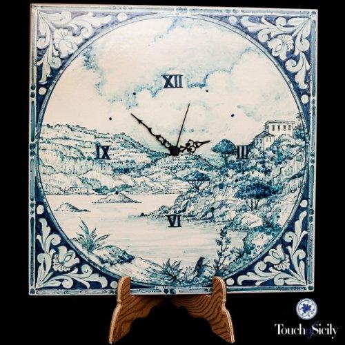 Touch of Sicily, Handmade, Italian Ceramic, Blue Tile Clock.