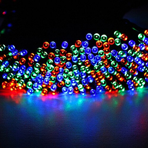 Amars(Tm) 72Ft/22M 200Leds Fairy Lights Solar Powered Holloween Christmas Party Waterproof Led String Lights For Outdoor Gardens Homes Cool Multi Colors
