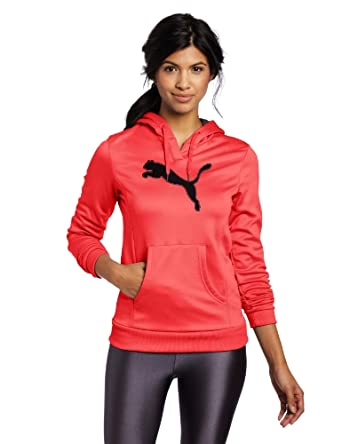 PUMA Women's Fleece Pullover, Teaberry/Black, X-Small