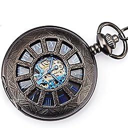 Smart.Deal Retro Mechanical Mens Hollow Pocket Watch Skeleton Hand-wind Engraved Case Blue Black
