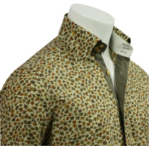 Men's Formal & Casual Italian Design Shirts Brown Flora Pattern Slim Fit S-4XL