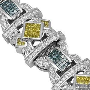 14K White Gold Mens Diamond Bracelet with Blue and Yellow Diamonds 15.98 Ctw