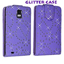 Cellularvilla (Trademark) Case for Samsung Infuse 4g I997 Purple Glitter Diamond Leather Flip Open Case Cover Pouch