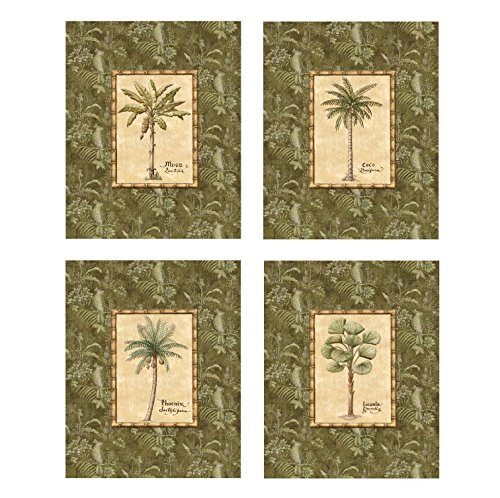 Set-of-4-Island-Beach-Palm-Trees-Art-Posters-Home-Office-Bathroom-Decor-8x10-Inches-Great-for-Framing