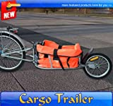 Frugah New Steel Bicycle Cargo Trailer One Wheel Cart Carrier Orange Trailers