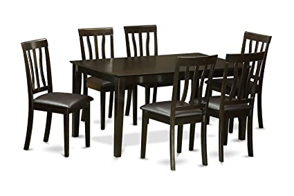 East West Furniture CAAN7-CAP-LC 7-Piece Dining Table Set