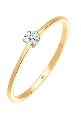 Diamore Ladies' 585 Yellow Gold Diamond Ring (0.1 Carat) Brilliant Cut, White