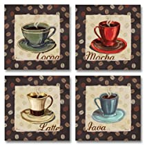 Cup of Joe Vintage Coffee Art Print Posters by Paul Brent, 12 x 12, Set of 4