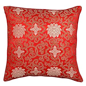 EXP Chinese Lotus Flower Design Decorative Handmade Cushion Cover/Pillow Sham, Silky Red