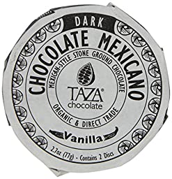 Taza Organic Vanilla Chocolate Mexicano Bar, 2.7 Ounce -- 12 per case.